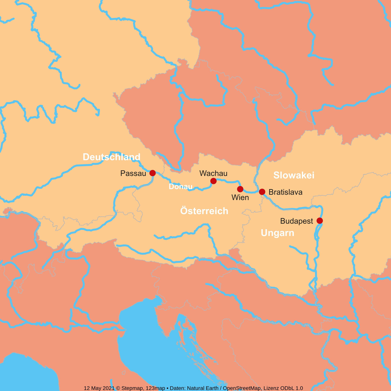 Karte zum Reiseverlauf