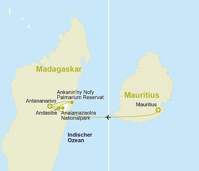flugzeit mauritius