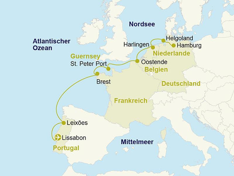 Kreufahrt Nordsee Atlantik Ms Hamburg