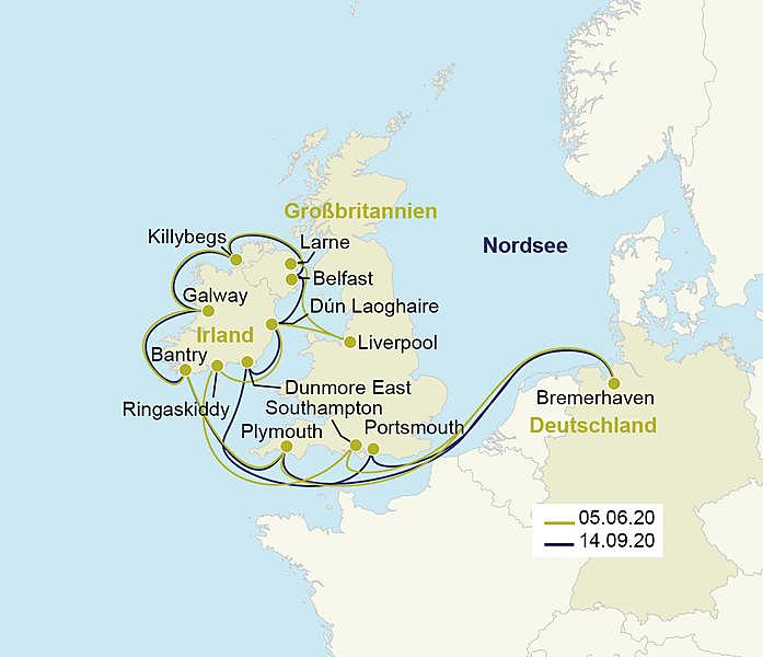 irland ec karte Südengland & Irland Kreuzfahrt MS Vasco da Gama