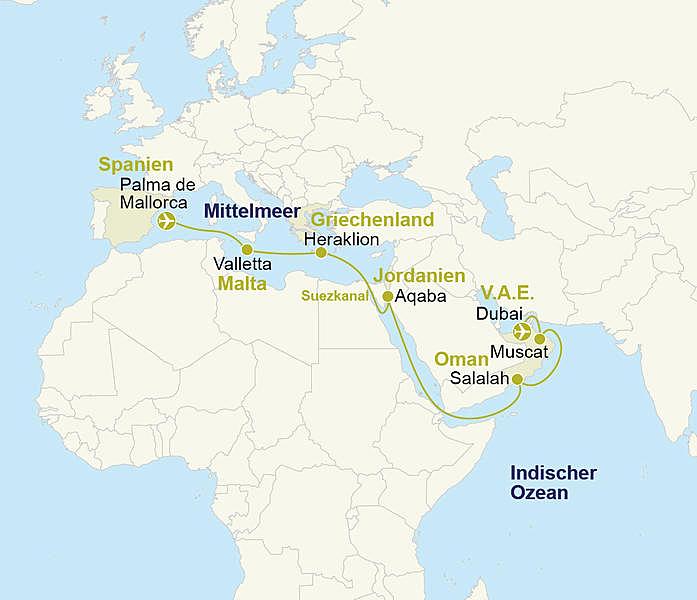 Westliches Mittelmeer Orient Aidaprima