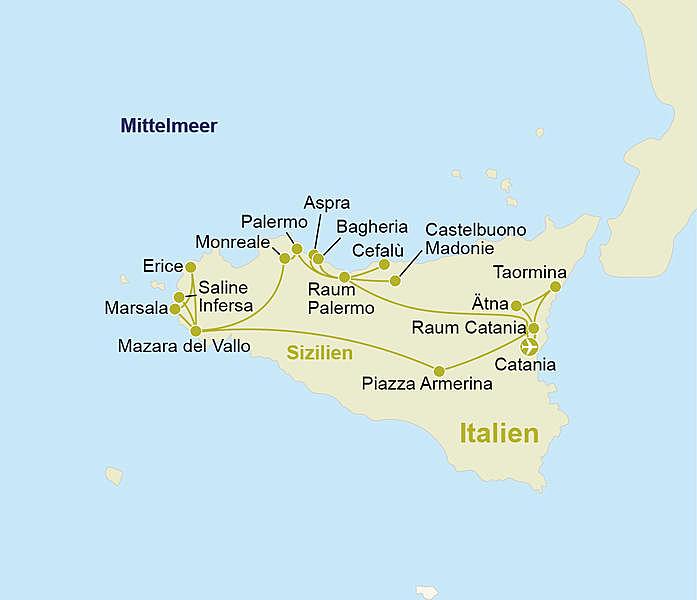 Entschleunigte Rundreise Sizilien 4 Sterne Hotels